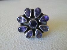 925 STERLING SILVER IOLITE CLUSTER RING (US 9 UK S)
