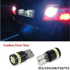 2x Error Free 921 T15 T10 194 168 Back Up Reverse Light White car LED Bulbs d4