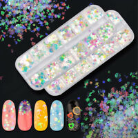 UK_ HB- JW_ Nail Art Star Heart Circle Sequins DIY Glitter Flakes Manicure Decor