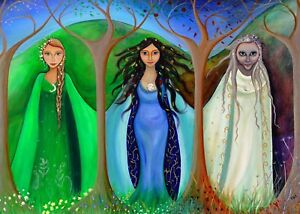 """Triple Goddess, Maiden, Mother, Crone  Greeting Card - 7"""" x 5"""""""