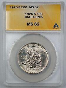 1925-S California Commemorative Silver Half Dollar ANACS MS 62 (Better Coin) (A)