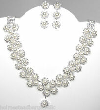 Faux Pearl Crystal Necklace Earrings Set Bridal Wedding Prom Party  NEW