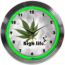 Neon clock sign Marijuana pot leaf Bar gameroom high life lamp light