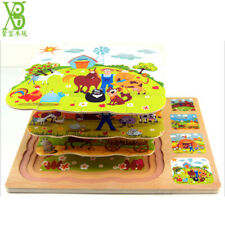 Development Training Baby Toys 3D Wooden Puzzle Cartoon Learning Educational Toy