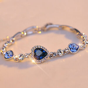 Fashion Women Lady Royal Ocean Heart Crystal Rhinestone Bangle Bracelet Gift U/A