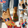 US Women Colorful Geo Applique Chunky Heel Slippers Sandals Casual Summer Shoes