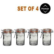 Set di 4 Barattoli Vetro Rotondo, Clip Top, cucina Spice Erbe Marmellata Contenitore