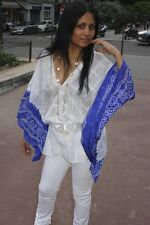 A Stylish Twin-shaded Kaftan Navy Blue and White