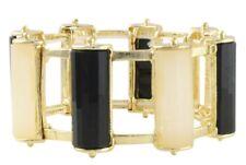 NEW Bold Geometric Black & Cream White Resin Bar Gem Cage Cuff Bracelet GoldTone