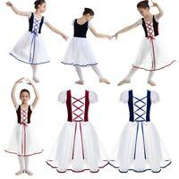 Kids Girls Velvet Mesh Lacework Ballet Dance Dress Leotard Tutu Skirt Costumes