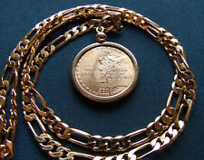 """2000 New Hampshire Gold Plated Quarter Pendant- 24"""" 18K Gold Filled Figaro Chain"""