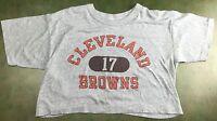 Vintage Women's L 80s Cleveland Browns NFL Football Gray Crop Top NOS T-Shirt