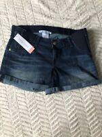 NEW Womens Maternity Shorts Denim Jean Liz Lange NWT Size Sz M Medium