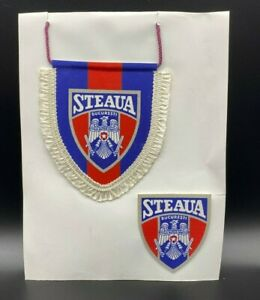 Vintage Steaua Bucuresti Patch  and Hanging Pennant 1991-98 Football Soccer