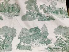 "2 sets/ 4 panels Toile 34"" x 84""  Lined Drapes Country French Yellow Ivory Green"