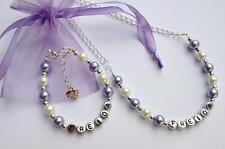 Girls lilac personalised bracelet and necklace set - party gift - any name.