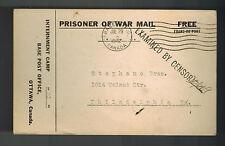 1942 Canada POW Prisoner of War Camp 21 Postcard Cover to USA Cigarette Order