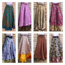 Indian Silk Wrap Vintage Skirt Women Handmade Double Layer Boho Skirt 5 PCs lot