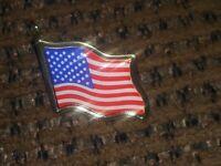 Goldtone American USA Flag Enamel Lapel Pin Patriotic Emblem Multi Color