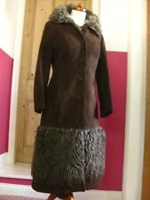 Vintage brown suede russian princess military COAT UK10 fur hem furry penny lane