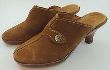 Cole Haan Devon Amber Suede Clog Silver Logo Suede Heels Mules Slides 8 B M