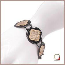 Bracciale in argento da donna con smalto nero braccialetto etnico regolabile