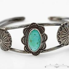 Vintage Native Pawn Sterling 900 Coin Silver Navajo Royston Turquoise Bracelet