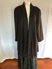 ALORNA OPEN FRONT WOOL COAT BLACK EMBELLISHED EMBROIDERY TRIM  SIZE 3X