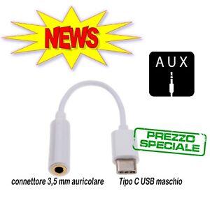 Cavo Adattatore USB 3.1 Type-C Maschio a Aux 3.5mm Audio Jack Femmina Cuffie