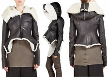 RICK OWENS Black Leather & White Shearling Fur Exploder Hood Jacket US 8 IT 42