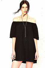 NEW NWT ANTHROPOLOGIE LITTLE BLACK DRESS ON OR OFF SHOULDER FRINGE HEM FIT M-XL