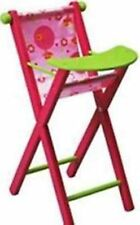 MOULIN ROTY LOUNA DOLL'S WOODEN HIGH CHAIR - 735115 - PINK & GREEN