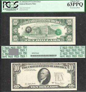 $10 1977-A FRN Overprint on Back Error PCGS Choice New 63 PPQ