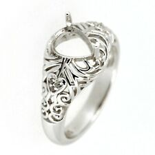 Sterling Silver Semi Mount Ring Setting Pear PS 5x7mm Art Deco