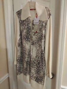 Marina Rinaldi Sweater Dress NWT Cream And Gray L Large