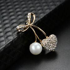 LK _ eg _ Mujer perla sintética Corazón LAZADA Broche pañuelo Collar Fiesta