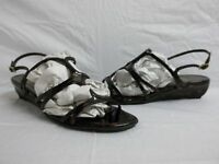 Stuart Weitzman Size 10 M Nufour Brown Patent Leather Sandals New Womens Shoes