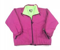 Vintage 80s 90s Neon Ski Jacket Retro Pink Green Adult Large Puffer Coat Snow