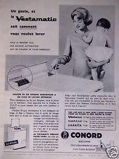 PUBLICITÉ 1958 CONORD VESTAMATIC MACHINE A LAVER AUTOMATIQUE - ADVERTISING