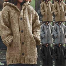 Women Spring Winter Hooded Knit Cardigan Sweater Knitwear Chunky Jacket Coat
