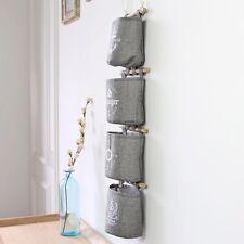 New Cotton Linen Navy Style Grey Wall Hanging Storage Organizer Hanger Bag 4Pcs
