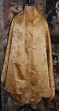 Hermosa vintage hecha a mano Chino Brocade Fabric o chal seda de oro