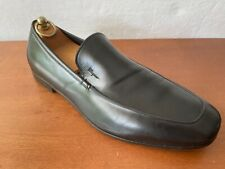 Pre Owned Salvatore Ferragamo Black Leather Slip On Loafers 9.5EE