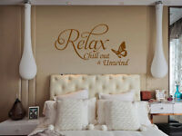 Relax Butterfly Vinyl Art Wall sticker Quote bedroom Wall Decal uk    SH139