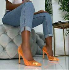 Womens Pointy Toe Stiletto High Heel Clear PVC Slip On Party Shoes Solod Pumps