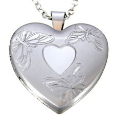 "STERLING SILVER BUTTERFLY FAMILY HEART SHAPED LOCKET PENDANT WITH 18"" CHAIN"