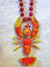 "Comical ""Lobster"" Mardi Gras Springy Bobble Necklace Animated Seafood (B430)"