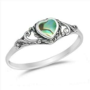 Heart Abalone Ring Genuine Sterling Silver 925 Gift Face Height 6 mm Size 4