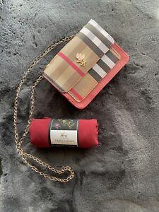 Red Mini Handbag Checkered Tartan Plaid Bag + Scarf Hijab Eid Gift Set Ladies