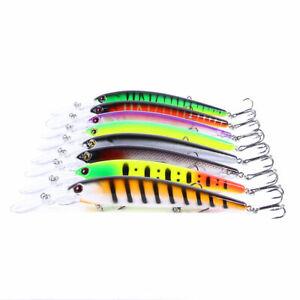 8PCS 16.5cm/21g Trolling Bait Minnow Fishing Lure Bass Crankbait Tackle Wobbler